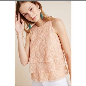 💕ANTHROPOLOGIE TIERED LACE SLEEVELESS TOP